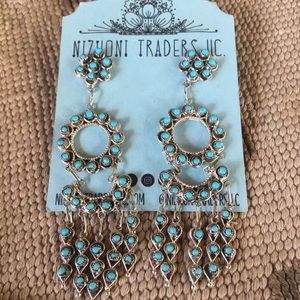 Zuni Turquoise & Sterling  Petit Point Dangles